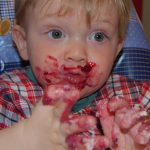 Zander's messy face easily cleaned up with norwex baby cloths